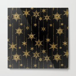 Gold snowflakes on a black background. Metal Print