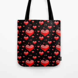 Hearts Red and Black Tote Bag