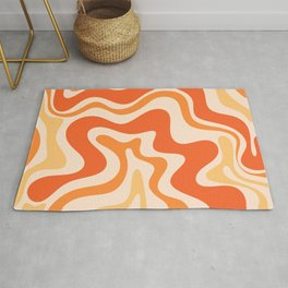 Tangerine Liquid Swirl Retro Abstract Pattern Rug
