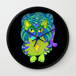 Peacock Tabby Noire Wall Clock