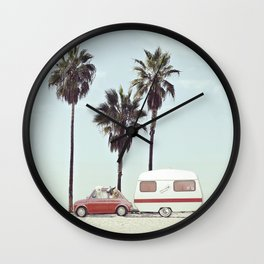 NEVER STOP EXPLORING - CAMPING PALM BEACH Wall Clock