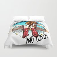 lungs Duvet Covers featuring Between Two Lungs by Sabino Martinez