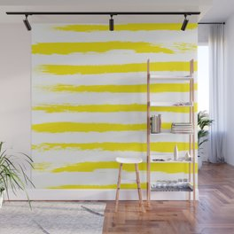 Sunny Yellow STRIPES Handpainted Brushstrokes Wall Mural