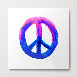 Watercolor Tie Dye Peace Sign Pink Blue on White Metal Print