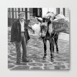 Greek Man With His Donkey (Square) Metal Print