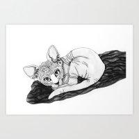 sphynx Art Prints featuring sphynx by Sara Kallioinen Lundgren
