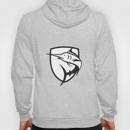 Blue Marlin Jumping Crest Black and White Hoody