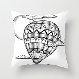 Vintage hot air balloon adventure t-shirt Throw Pillow