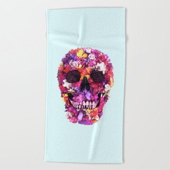 FLOWERS SKULL Beach Towel