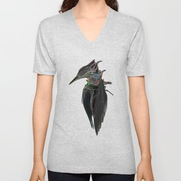 Kingfisher 1d. Color lines on black background-(Red eyes series) Unisex V-Neck