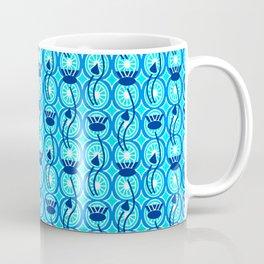 Deco Egyptian Lotus Pattern, Cobalt Blue and Turquoise Coffee Mug