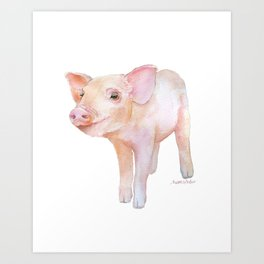 Piglet 2 Watercolor Painting Art Print