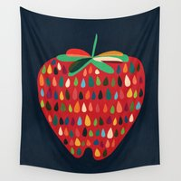 strawberry Wall Tapestries featuring Strawberry by Picomodi