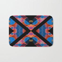 Elegant Feng Shui Silk Brocade Boho Geometric Print Bath Mat