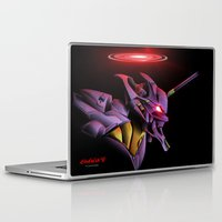 evangelion Laptop & iPad Skins featuring Evangelion Unit 01 - Rebuild of Evangelion 3.0 Movie Poster by Barrett Biggers