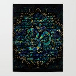 Namaste Word Art in Lotus with OM symbol Poster
