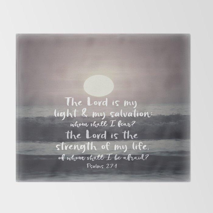 Ocean Sunrise with Psalms Light Salvation Bible Verse Throw Blanket