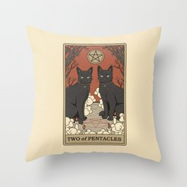 Two of Pentacles Throw Pillow