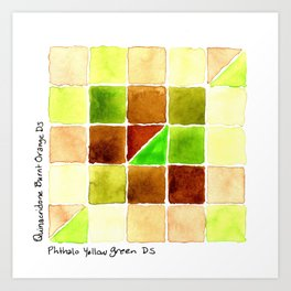 Color Chart - Quinacridone Burnt Orange DS and Phthalo Yellow Green DS Art Print