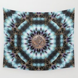 Om Shanti Fractal Geometry [ earthy aqua remix ] Wall Tapestry