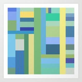 Abstract Blue Mint Green Geometry Art Print