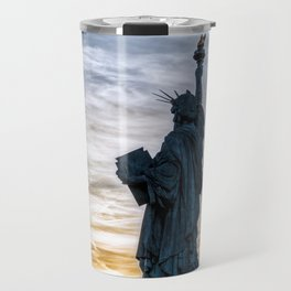 Sunset over Replica of the Liberty Statue in Paris Travel Mug