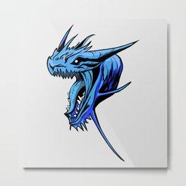 Fantasy Mythical Creature Art Blue Dragon Face Metal Print