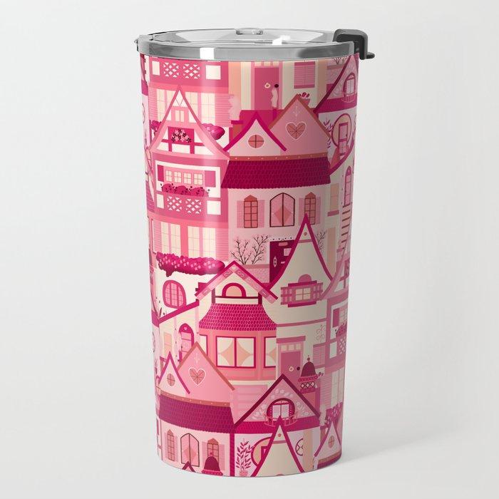 Pink Little Town Travel Mug