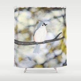 tufted titmouse - bokeh Shower Curtain