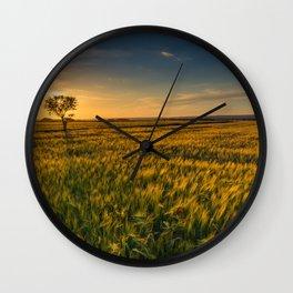 Open Field Sunset Views Wall Clock