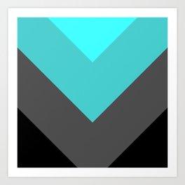 Aqua Gray Chevron Stripes Art Print