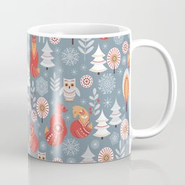 Fairy forest, deer, owls, foxes. Decorative pattern in Scandinavian style. Folk art. Coffee Mug