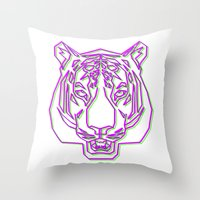 rave Throw Pillows featuring Tiger Rave by James Thornton