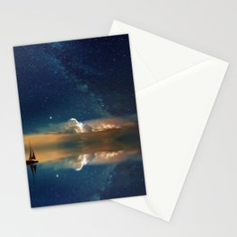 Sailboat in Space (Color) Stationery Cards
