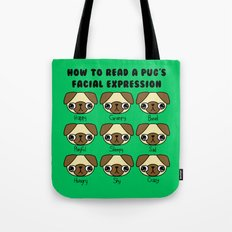 The many facial expressions of a pug Tote Bag