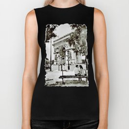 The Arc de Triomphe Paris Black and White Biker Tank