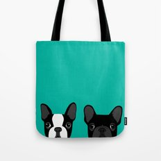 Boston Terrier and French Bulldog Tote Bag