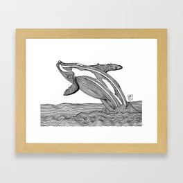 Splashing Whale Framed Art Print