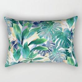 Golden Summer Tropical Emerald Jungle Rectangular Pillow