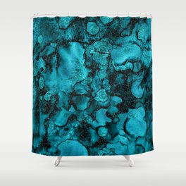 Blue Gemstone and Ink Malachite Glitter Marble Shower Curtain