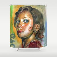 ahs Shower Curtains featuring AHS Hotel-LadyGaga as Young Elizabeth by Abhivision