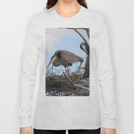 Great Blue Herons Nesting Long Sleeve T-shirt