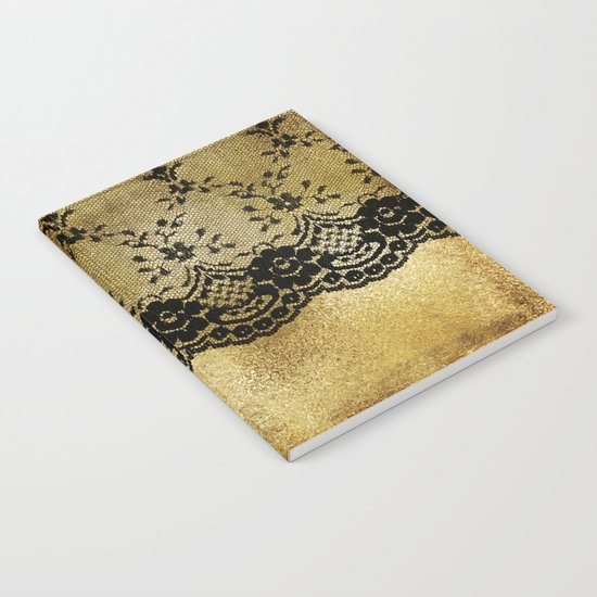 Black floral elegant lace on gold metal background- #Society6 Notebook