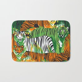Graphic seamless pattern of standing and walking tigers. Bath Mat