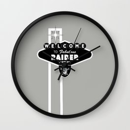 LAS VEGAS RAIDERS SIGN WHITE STAND WITH GREY BACKGROUND Wall Clock