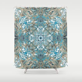 Turquoise Blue and Tan Pattern Shower Curtain