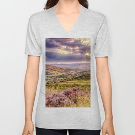 Scenic view of Hope valley, Peak District, U.K. Unisex V-Neck