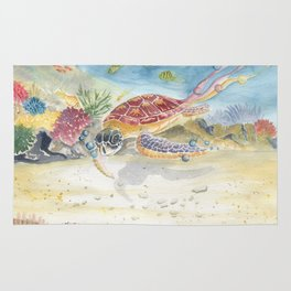 Colorful Sea Turtle 2 Rug