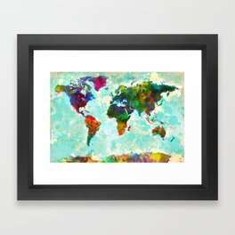 Abstract Map of the World Framed Art Print