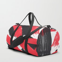 Modern Abstract Black Red Brush Strokes Pattern Duffle Bag